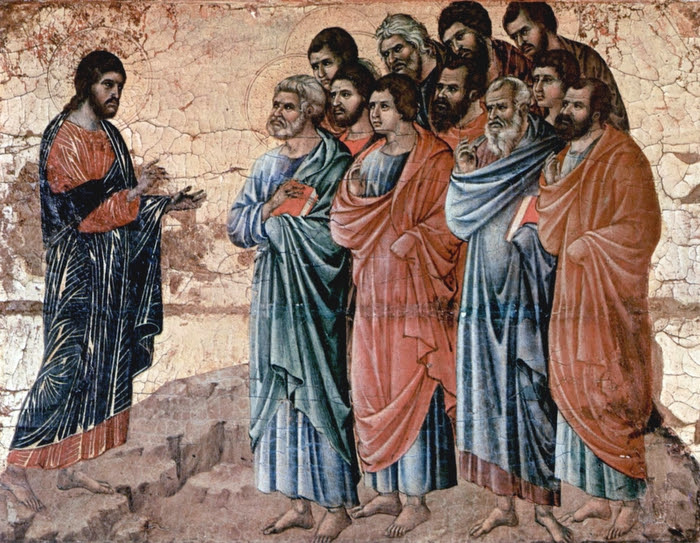 Christ Appears to the Disciples on the Mountain in Galilee Panel from the Maesta Altarpiece of Siena (Duccio di Buoninsegna - d. 1319)