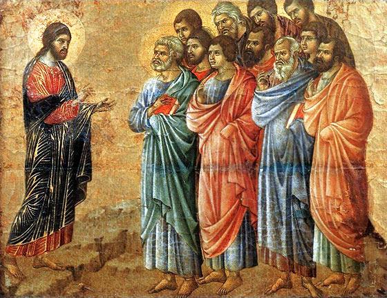 Duccio di Buoninsegna. L'Apparizione di Cristo sul monte della Galilea. Museo dell'Opera del duomo, Siena.